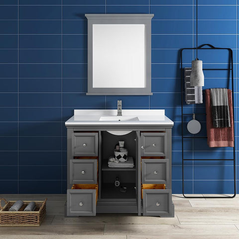 "Image of Fresca Windsor 40"" Gray Textured Traditional Bathroom Vanity FVN2440GRV-FFT1030BN"