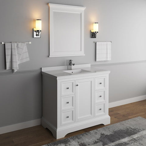"Image of Fresca Windsor 40"" Matte White Bathroom Vanity FVN2440WHM-FFT1030BN"