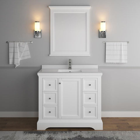 "Fresca Windsor 40"" Matte White Bathroom Vanity FVN2440WHM-FFT1030BN"