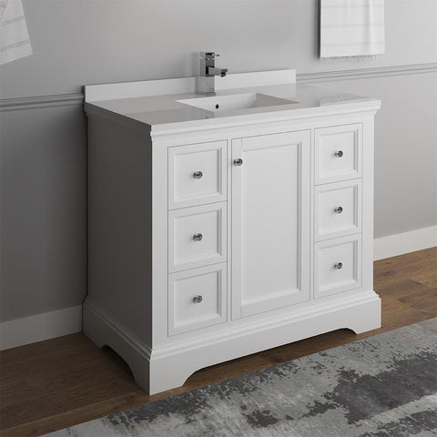 "Fresca Windsor 40"" Matte White Traditional Bathroom Cabinet FCB2440WHM-CWH-U"