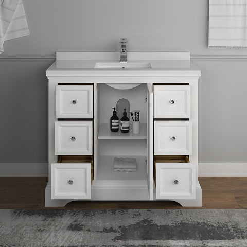 "Image of Fresca Windsor 40"" Matte White Traditional Bathroom Cabinet FCB2440WHM-CWH-U"