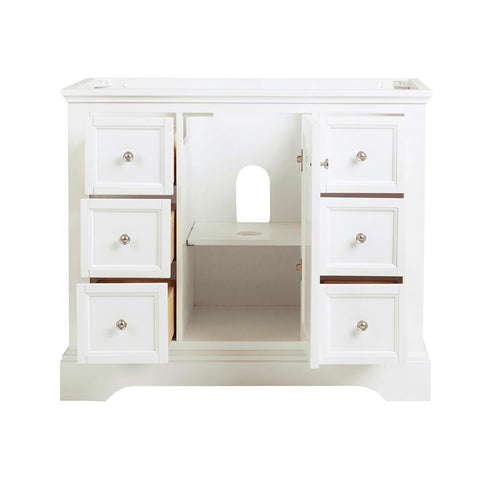 "Fresca Windsor 40"" Matte White Traditional Bathroom Cabinet 