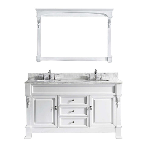 "Huntshire 60"" Double Bathroom Vanity GD-4060-WMSQ-WH"