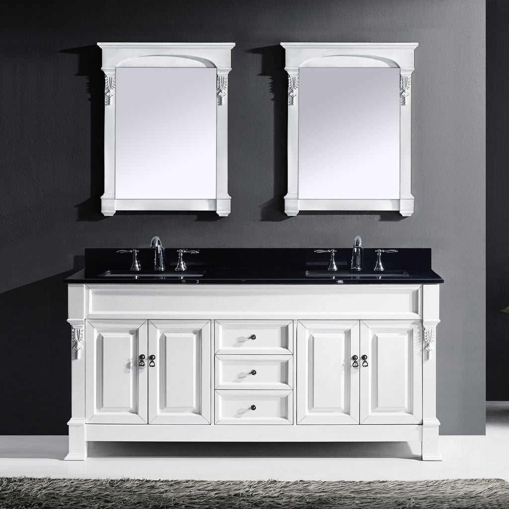 "Huntshire 72"" Double Bathroom Vanity in White with Black Galaxy Granite Top GD-4072-BGSQ-WH"
