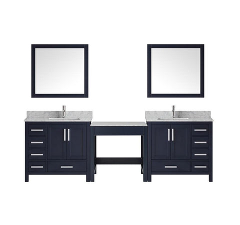 "Jacques 102"" Navy Blue Double Vanity w/Table Marble Top Square Sink & 34"" Mirror LJ34221023EDSM34"