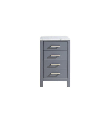 "Jacques 20"" Dark Grey Side Cabinet Storage Organizer White Carrara Marble Top LJ322220BDSSCB"