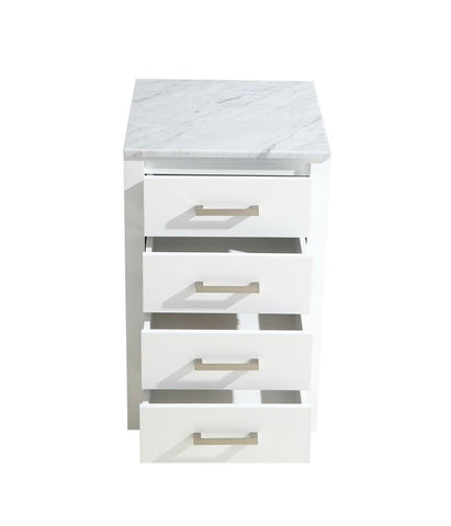 "Jacques 20"" White Side Vanity Cabinet Storage Organizer White Carrara Marble Top LJ322220ADSSCB"
