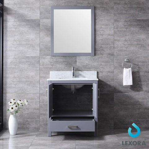 "Image of Jacques 30"" Dark Grey Single Vanity Carrara Marble Top Sink & 28"" Wall Mirror LJ342230SBDSM28"