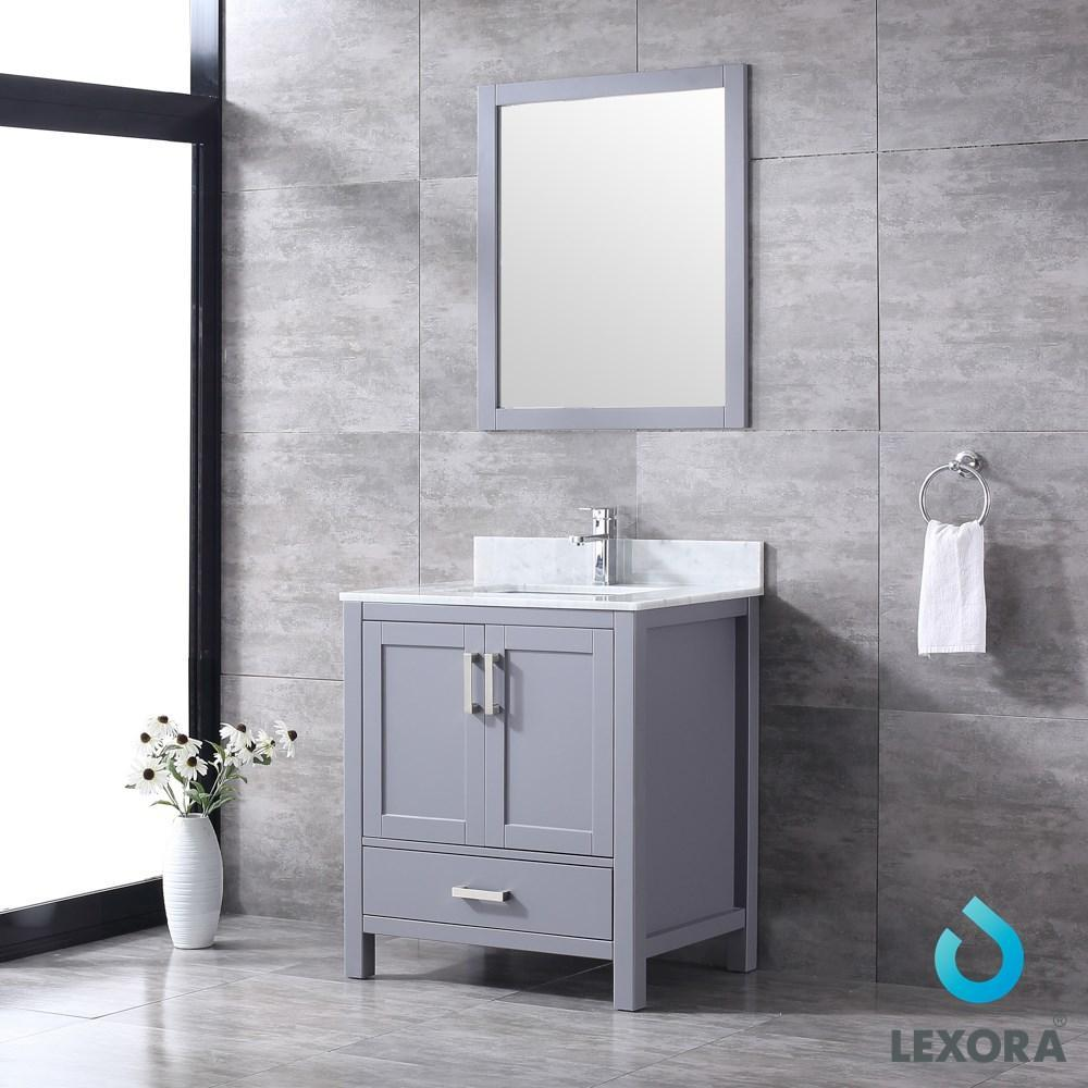 "Jacques 30"" Dark Grey Single Vanity Carrara Marble Top Sink & 28"" Wall Mirror LJ342230SBDSM28"
