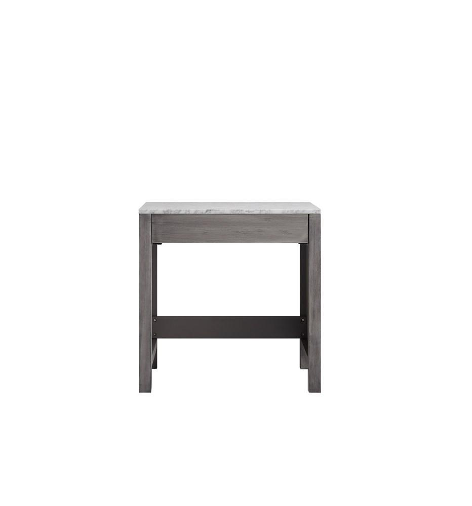 "Jacques 30"" Distressed Grey Make-Up Vanity Side Table White Carrara Marble Top LJ302230DDSMTB"
