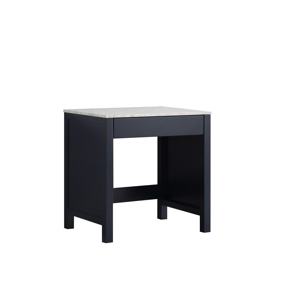 "Jacques 30"" Navy Blue Make-Up Vintage Vanity Side Table White Carrara Marble Top LJ302230EDSMTB"