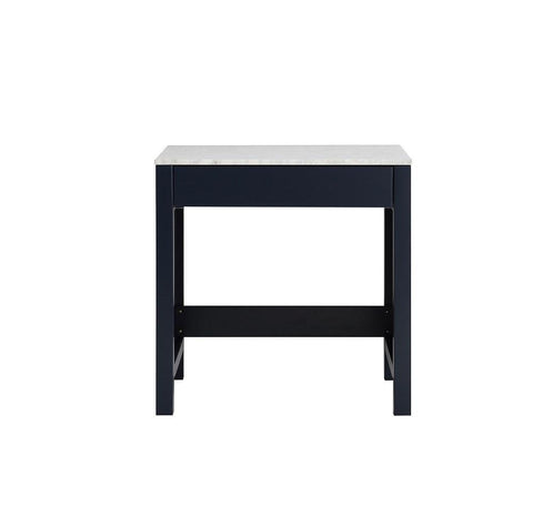 "Image of Jacques 30"" Navy Blue Make-Up Vintage Vanity Side Table White Carrara Marble Top LJ302230EDSMTB"