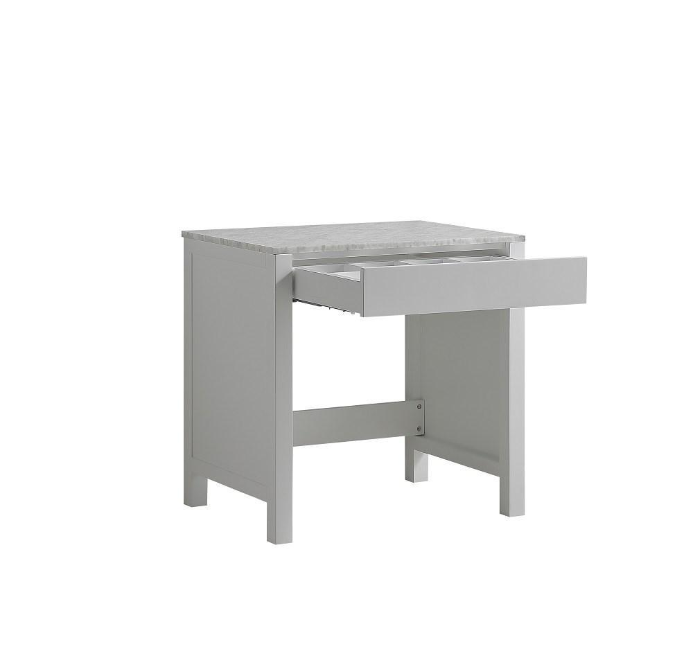"Jacques 30"" White Make-Up Bathroom Vanity Side Table White Carrara Marble Top LJ302230ADSMTB"