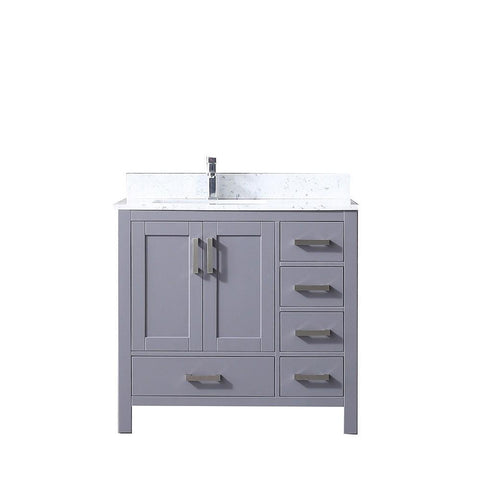 "Jacques 36"" Dark Grey Single Vanity Cabinet Carrara Marble Top Sink Left LJ342236SBDS000-L"