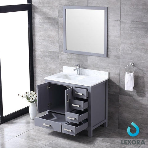 "Jacques 36"" Dark Grey Single Vanity Carrara Marble Top Sink & 34"" Mirror Left LJ342236SBDSM34-L"