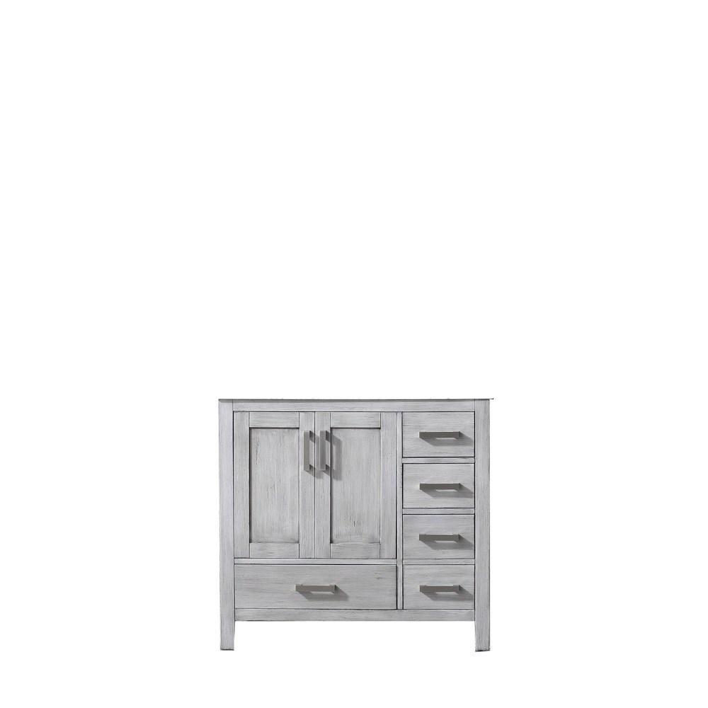 "Jacques 36"" Distressed Grey Left Bathroom Organiser Bath Storage Vanity Cabinet LJ342236SD00000-L"