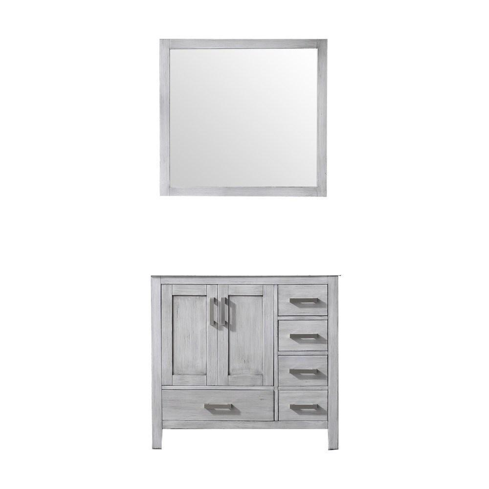 "Jacques 36"" Distressed Grey Single Bath Vanity Cabinet & 34"" Wall Mirror Left LJ342236SD00M34-L"