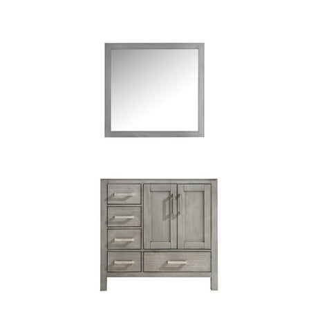 "Jacques 36"" Distressed Grey Single Bath Vanity Cabinet & 34"" Wall Mirror Right LJ342236SD00M34-R"