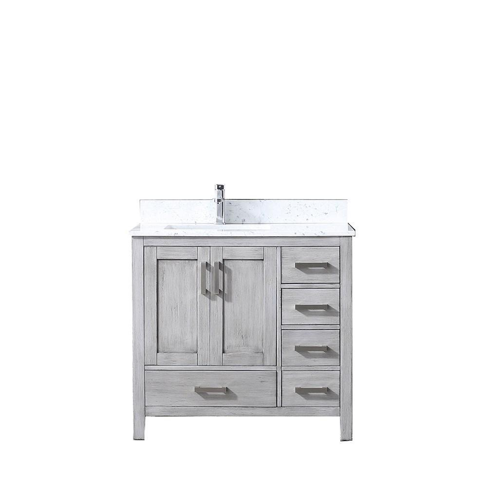 "Jacques 36"" Distressed Grey Single Vanity Cabinet Carrara Marble Top Sink Left LJ342236SDDS000-L"