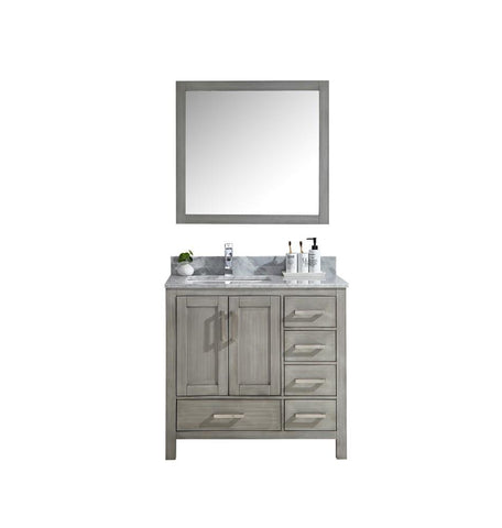 "Jacques 36"" Distressed Grey Single Vanity Cabinet Carrara Marble Top Sink Right LJ342236SDDS000-R"