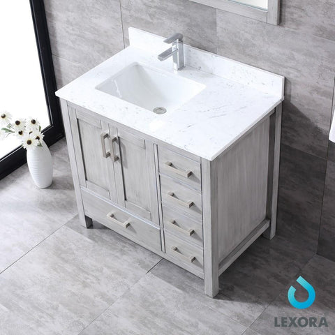 "Jacques 36"" Grey Single Vanity Carrara Marble Top Sink & 34"" Mirror Left LJ342236SDDSM34-L"