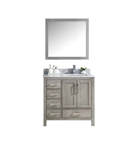 "Jacques 36"" Grey Single Vanity Carrara Marble Top Sink & 34"" Mirror Right LJ342236SDDSM34-R"