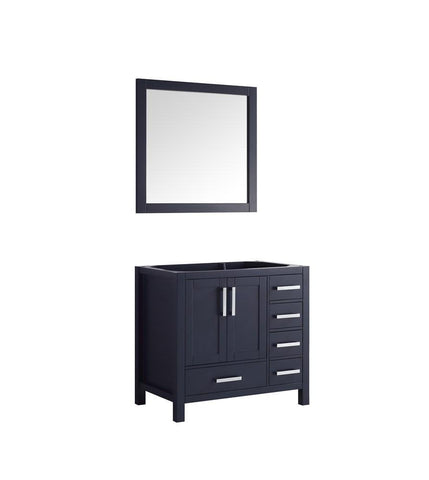 "Jacques 36"" Navy Blue Single Bathroom Vanity Cabinet & 34"" Wall Mirror Left LJ342236SE00M34-L"