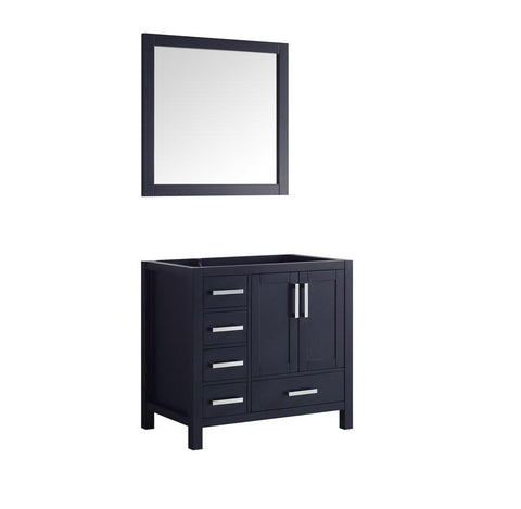 "Jacques 36"" Navy Blue Single Bathroom Vanity Cabinet & 34"" Wall Mirror Right LJ342236SE00M34-R"