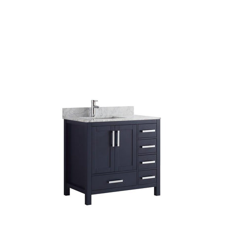 "Jacques 36"" Navy Blue Single Vanity Cabinet Carrara Marble Top Sink Left LJ342236SEDS000-L"