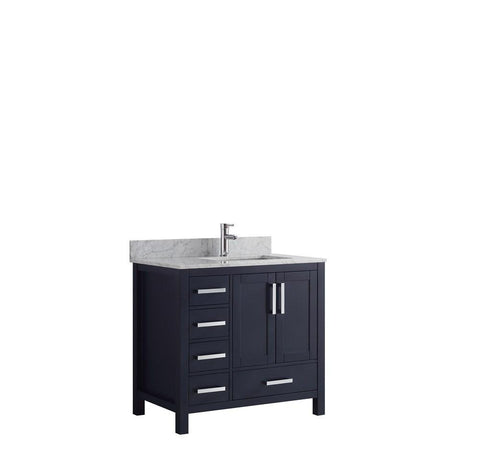 "Jacques 36"" Navy Blue Single Vanity Cabinet Carrara Marble Top Sink Right LJ342236SEDS000-R"