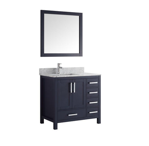 "Jacques 36"" Navy Blue Single Vanity Carrara Marble Top Sink & 34"" Mirror Left LJ342236SEDSM34-L"