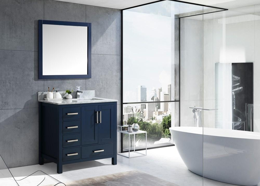 "Jacques 36"" Navy Blue Single Vanity Carrara Marble Top Sink & 34"" Mirror Right LJ342236SEDSM34-R"