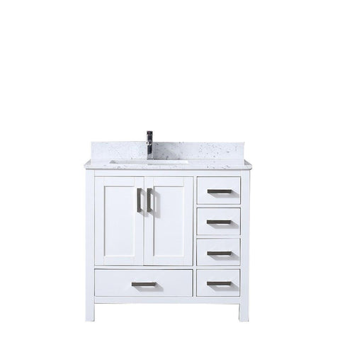 "Jacques 36"" Single Vanity Cabinet Carrara Marble Top Square Sink - Left Version LJ342236SADS000-L"