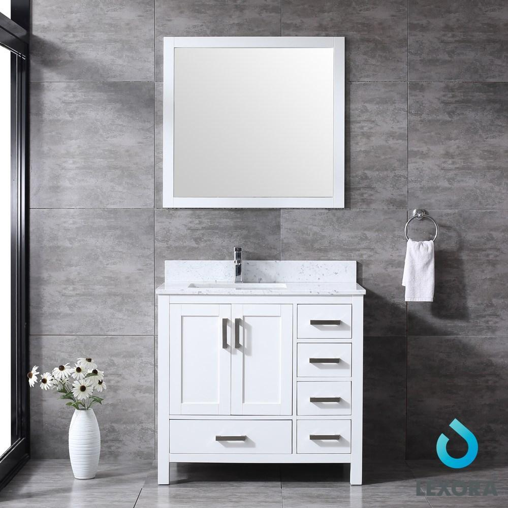 "Jacques 36"" Single Vanity Carrara Marble Top Sink & 34"" Wall Mirror - Left LJ342236SADSM34-L"