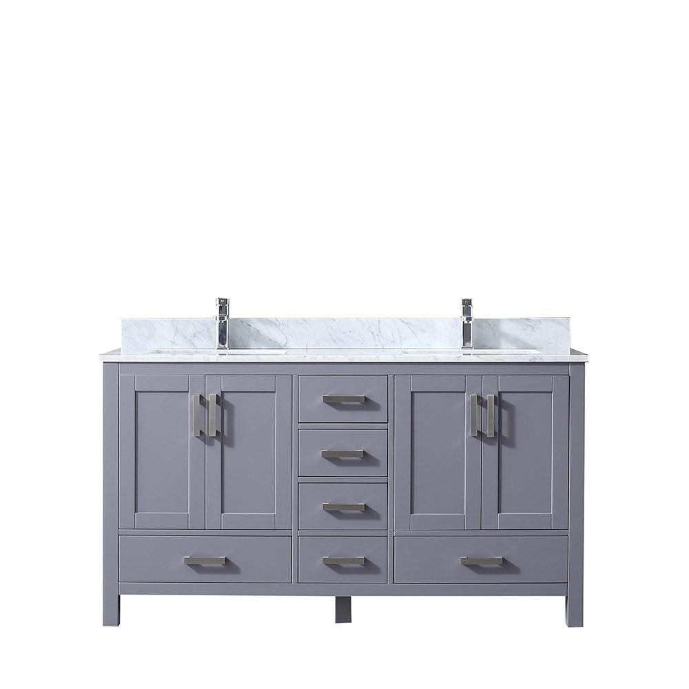 "Jacques 60"" Dark Grey Double Bath Vanity Cabinet Carrara Marble Top Square Sinks LJ342260DBDS000"