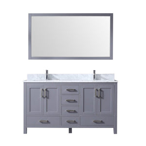 "Jacques 60"" Dark Grey Double Vanity Carrara Marble Top Sinks & 58"" Wall Mirror LJ342260DBDSM58"