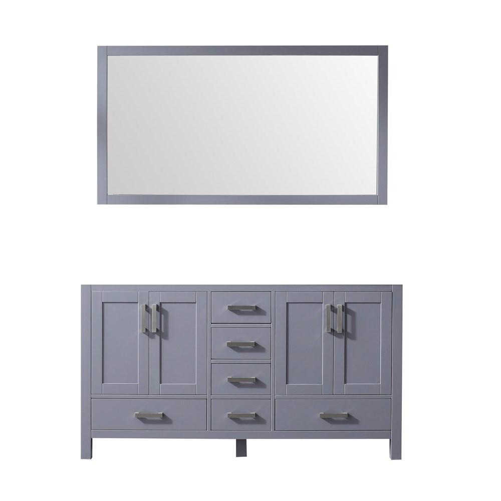 "Jacques 60"" Dark Grey Double Vintage Bathroom Vanity Cabinet & 58"" Wall Mirror LJ342260DB00M58"