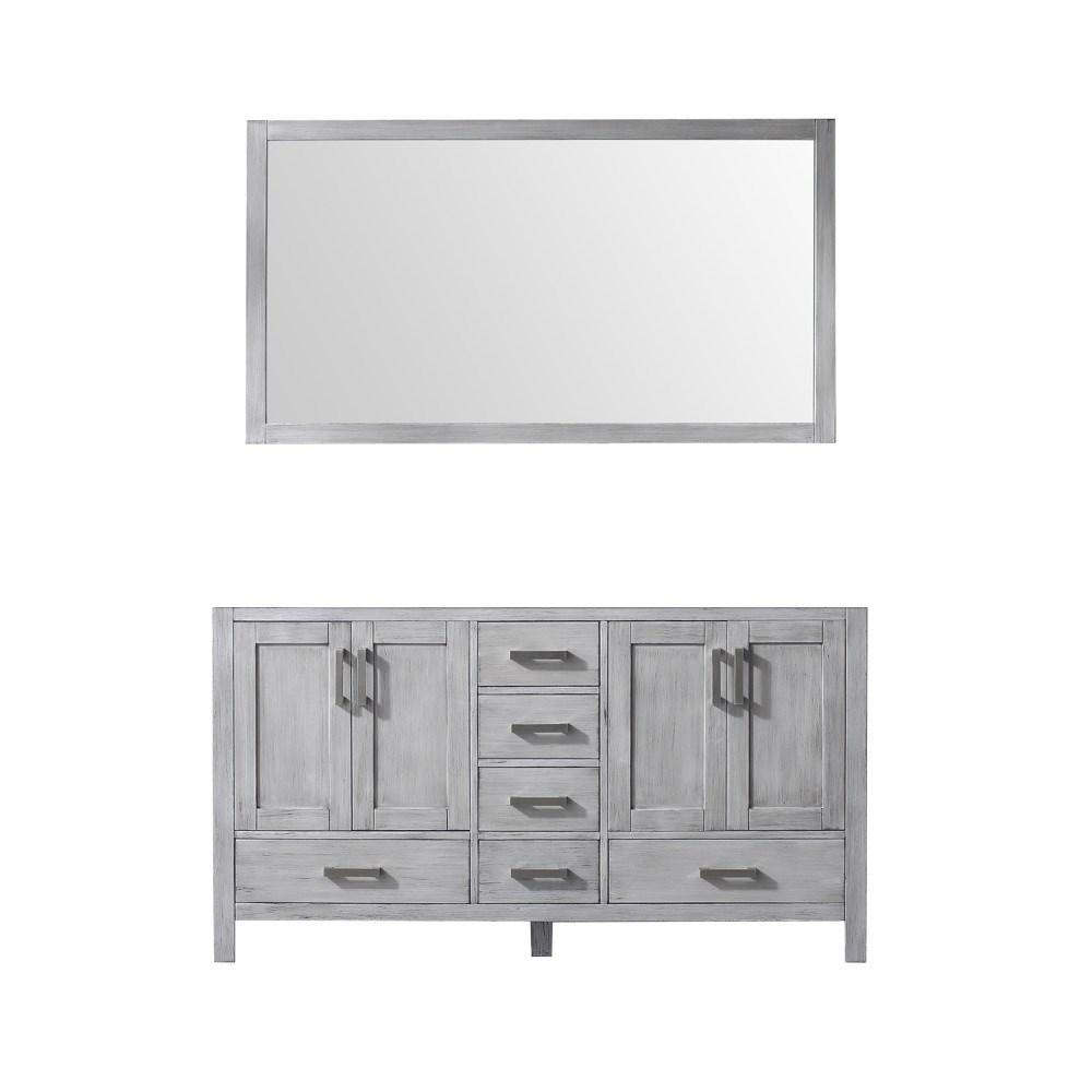 "Jacques 60"" Distressed Grey Double Bathroom Vanity Cabinet & 58"" Wall Mirror LJ342260DD00M58"