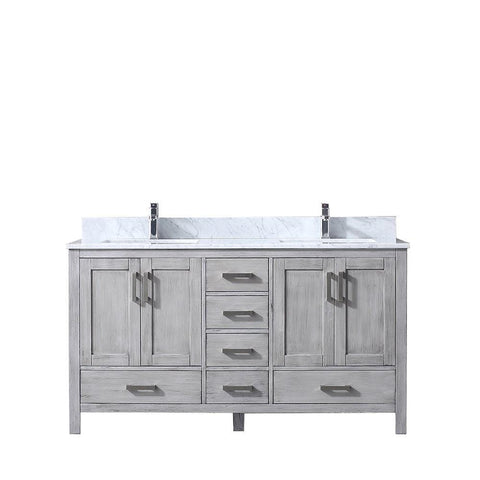 "Jacques 60"" Distressed Grey Double Vanity Cabinet Carrara Marble Top Sinks LJ342260DDDS000"