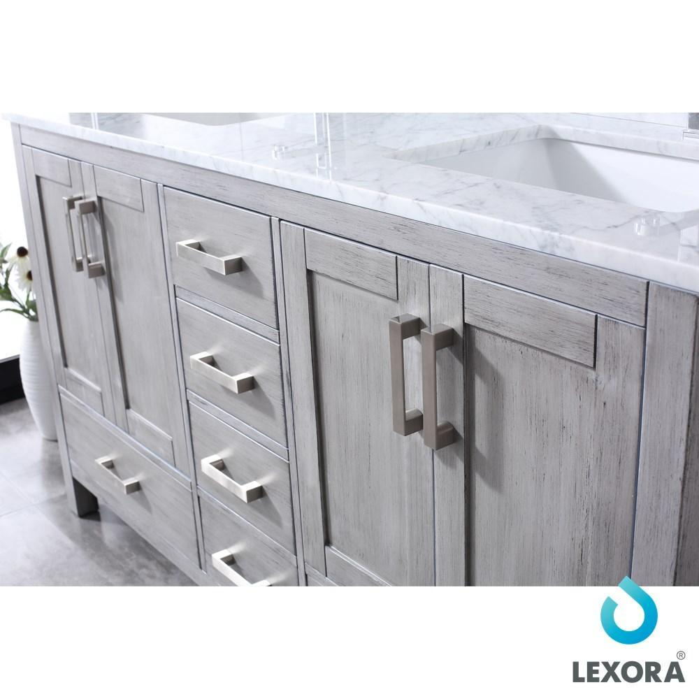 "Jacques 60"" Distressed Grey Double Vanity Carrara Marble Top Sinks & 58"" Mirror LJ342260DDDSM58"