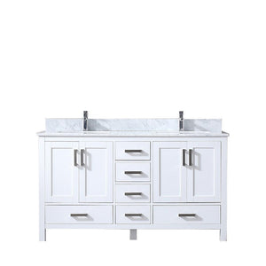 "Jacques 60"" Double Bathroom Vanity Cabinet Carrara Marble Top Square Sinks LJ342260DADS000"