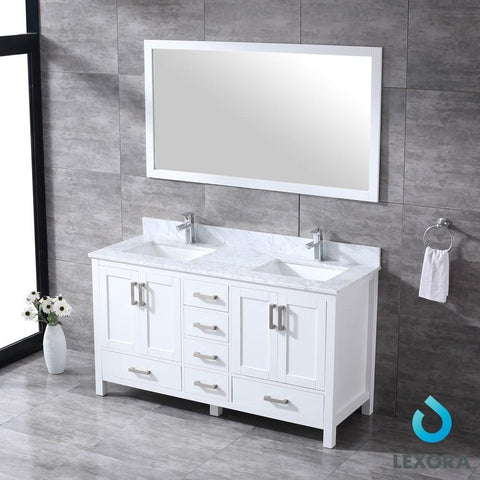 "Jacques 60"" Double Vanity Cabinet Carrara Marble Top Sinks & 58"" Wall Mirror LJ342260DADSM58"