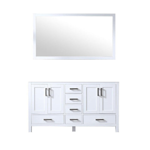 "Jacques 60"" Double Vintage Bathroom Organiser Vanity Cabinet & 58"" Wall Mirror LJ342260DA00M58"