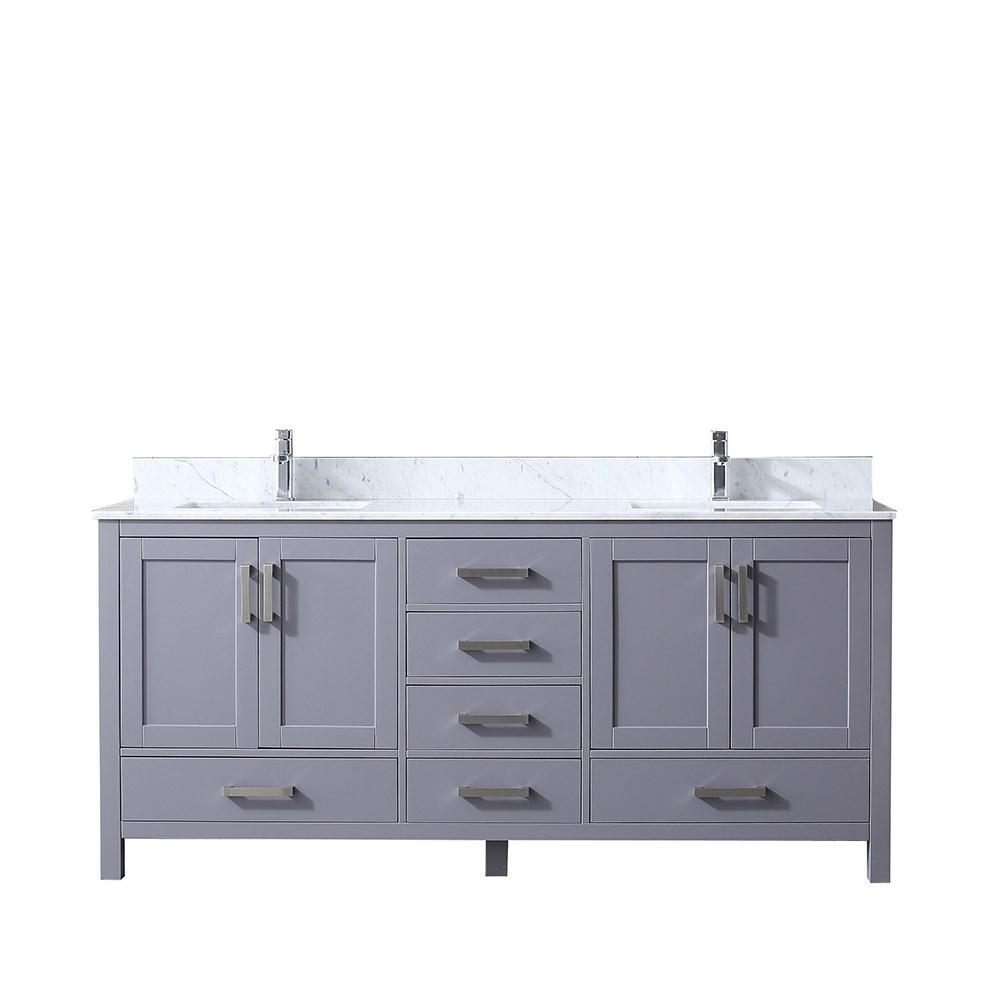 "Jacques 72"" Dark Grey Double Bath Vanity Cabinet Carrara Marble Top Square Sinks LJ342272DBDS000"