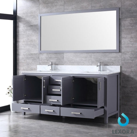 "Jacques 72"" Dark Grey Double Vanity Carrara Marble Top Sinks & 70"" Wall Mirror LJ342272DBDSM70"