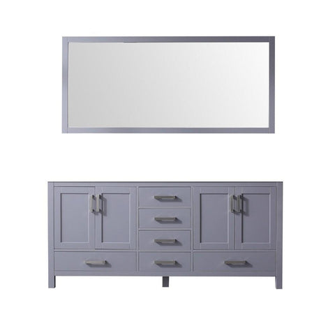 "Jacques 72"" Dark Grey Double Vintage Bathroom Vanity Cabinet & 70"" Wall Mirror LJ342272DB00M70"