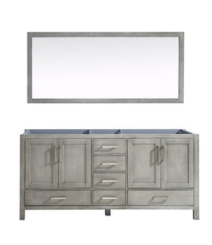 "Jacques 72"" Distressed Grey Double Bathroom Vanity Cabinet & 70"" Wall Mirror LJ342272DD00M70"