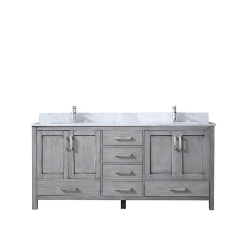 "Jacques 72"" Distressed Grey Double Vanity Cabinet Carrara Marble Top Sinks LJ342272DDDS000"