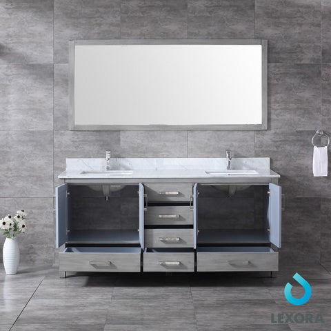 "Jacques 72"" Distressed Grey Double Vanity Carrara Marble Top Sinks & 70"" Mirror LJ342272DDDSM70"