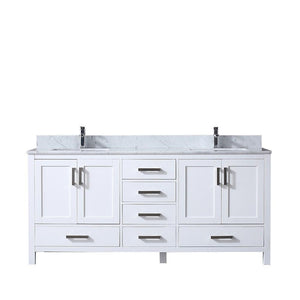 "Jacques 72"" Double Bathroom Vanity Cabinet Carrara Marble Top Square Sinks LJ342272DADS000"